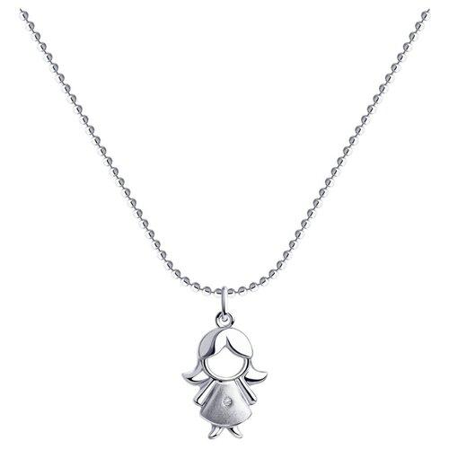 SOKOLOV Колье из серебра с бриллиантом 87070015, 40 см, 3.54 г sokolov колье из серебра с бриллиантом 87070015 40 см 3 54 г