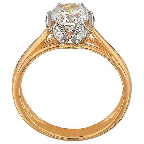 Эстет Кольцо с фианитом и кристаллами swarovski из красного золота 01К119289, размер 15.5