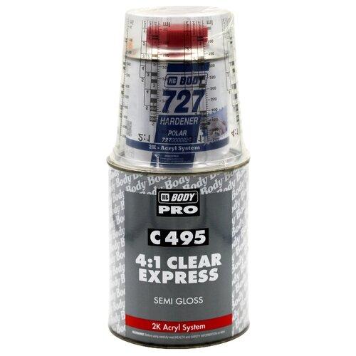 Комплект (автомобильный лак, отвердитель для лака) HB BODY C495 4:1 Clear Express Semigloss + 727 Polar 1250 мл