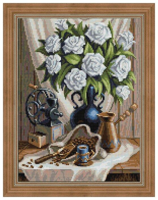 Алмазная живопись Набор алмазной вышивки Белые розы и черный кофе (АЖ-1657) 30х40 см