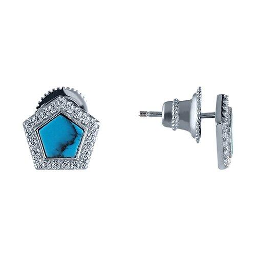 цена на JV Серьги с фианитами и бирюзой из серебра MT1376-S-SR-TQ-001-WG