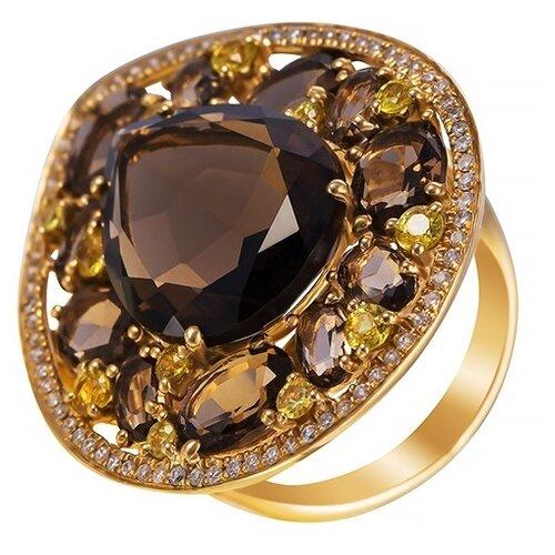 JV Кольцо из золота 585 пробы с бриллиантами, сапфирами и раухтопазами HF04691R-YSQYS-KO-YS-SQ-YG, размер 17.25