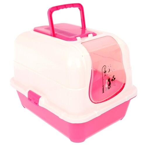 Туалет-домик для кошек Пижон 1391049\1391050\1391051 51.5х40х38.5 см розовый/белый