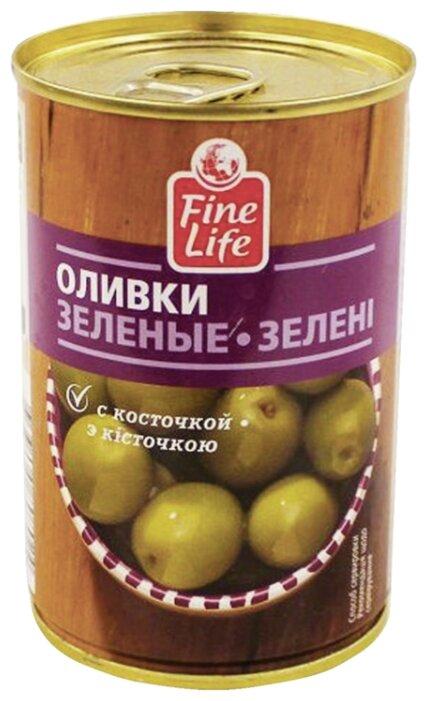 Fine Life Оливки зеленые с косточкой, 300 г