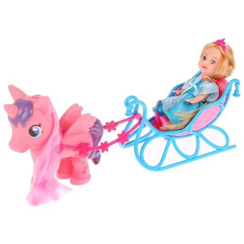 Купить Кукла Карапуз Машенька в санях с пони, 12 см, MARY87205-BB, Куклы и пупсы