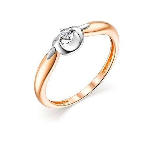 АЛЬКОР Кольцо с 1 бриллиантом из красного золота 13465-100, размер 16.5 фото