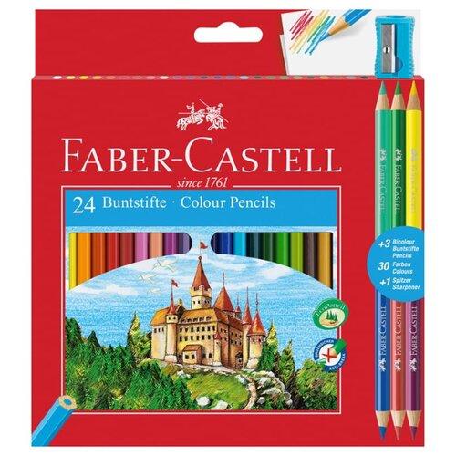 Купить Faber-Castell Карандаши цветные, 24+6 цветов, с точилкой (110324), Цветные карандаши