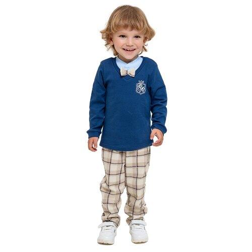 Фото - Комплект одежды Веселый Малыш размер 92, белый/серый меланж/синий пижама веселый малыш размер 92 серый синий