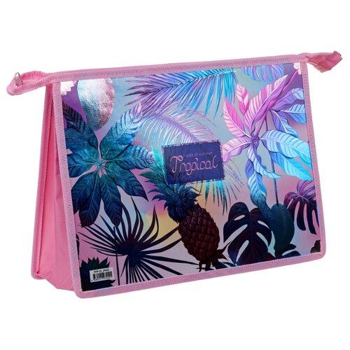 ArtSpace Папка для тетрадей Tropic А4, на молнии, пластик розовый недорого