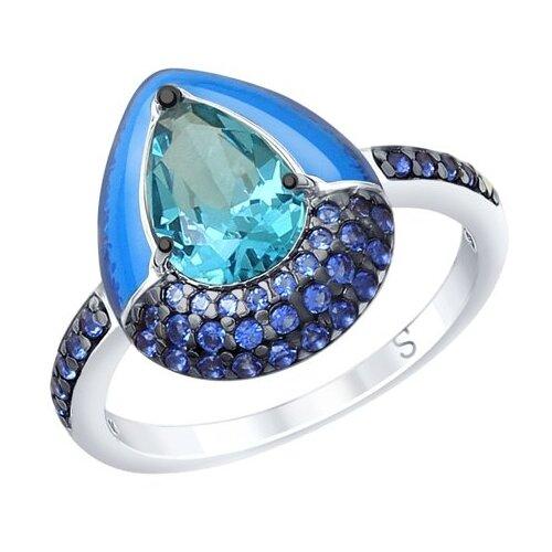 SOKOLOV Кольцо из серебра с эмалью и синим ситаллом и фианитами 92011670, размер 16.5