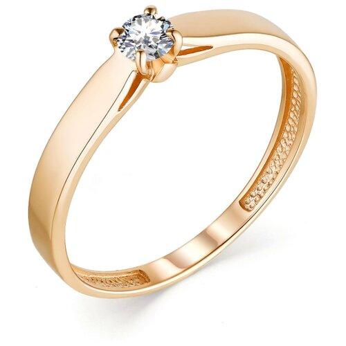 АЛЬКОР Кольцо с 1 бриллиантом из красного золота 13281-100, размер 18
