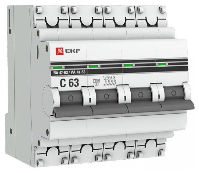 Автоматический выключатель EKF ВА 47-63 4P (C) 4,5kA
