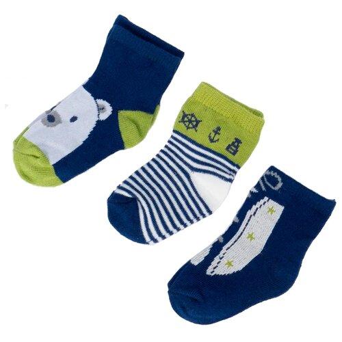 Носки Mayoral комплект 3 пары размер 16, синий/зеленый/белый