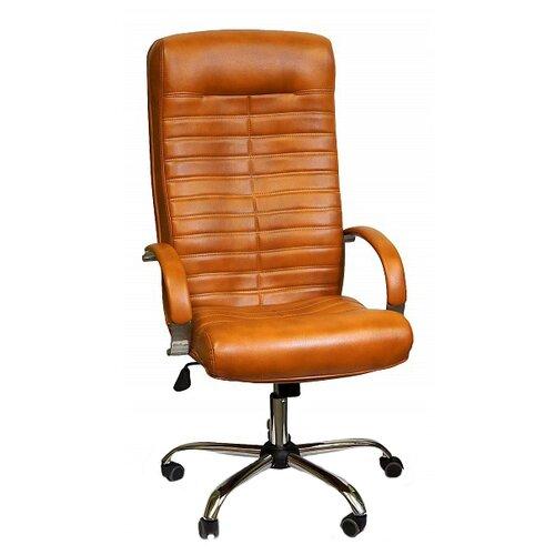 Компьютерное кресло Креслов Орион КВ-07-130112, обивка: искусственная кожа, цвет: рыже-коричневый кресло компьютерное креслов орман кв 08 130112 0453