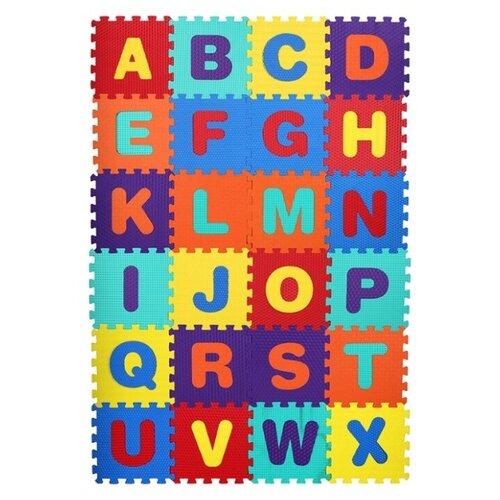 Купить Развивающий коврик-пазл детский, Английский алфавит, 26 пазлов, размер одного пазла 31х31 см, толщина 1 см, фигурки вынимаются, Компания Друзей, Игровые коврики