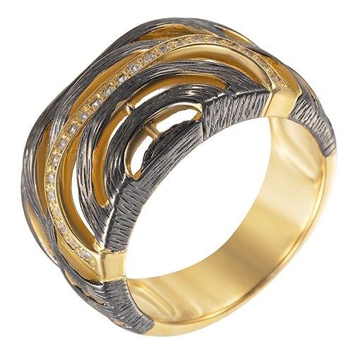 ELEMENT47 Широкое ювелирное кольцо из серебра 925 пробы с кубическим цирконием SET83999RW_KO_001_BJ, размер 18