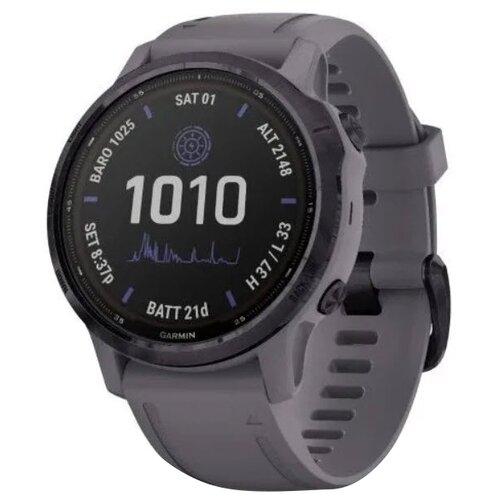 Умные часы Garmin Fenix 6S Pro Solar, аметистовый/темно-серый умные часы garmin fenix 6x pro solar титановый с титановым браслетом серый