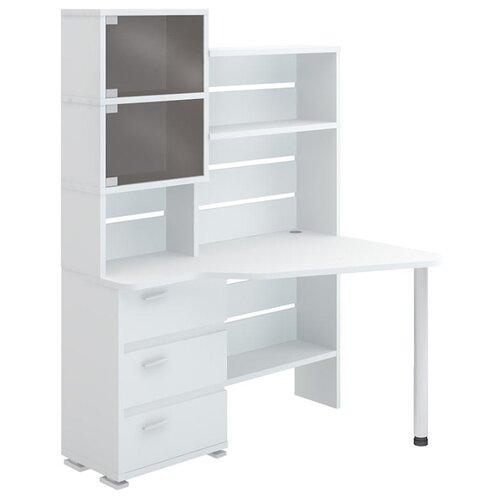 Компьютерный стол Мэрдэс Домино Нельсон СР-322, ШхГ: 134х89.6 см, угол: справа, цвет: белый жемчуг