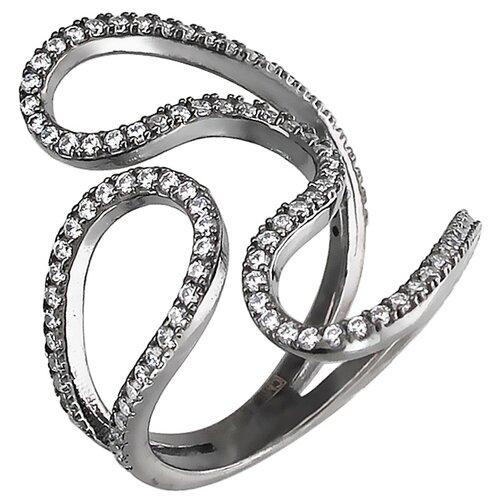Эстет Кольцо с фианитами из чернёного серебра 01К159214Ч, размер 17.5 ЭСТЕТ
