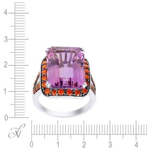 цена на JV Кольцо с аметистом и фианитами из серебра SR120318-KO-AM-002-WG, размер 17.5