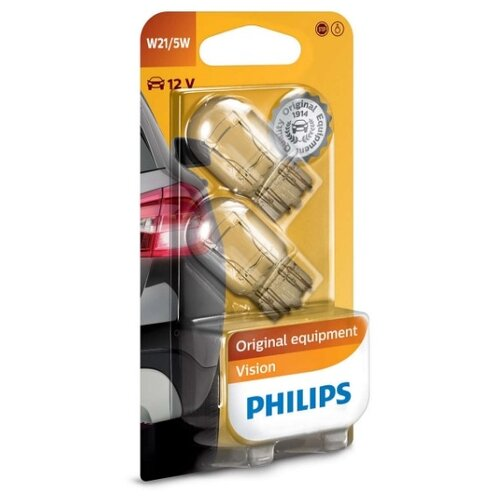 Лампа автомобильная накаливания Philips Vision 12066B2 W21/5W 21/5W 2 шт. лампа автомобильная накаливания philips 12594cp p21 4w 21 4w 1 шт