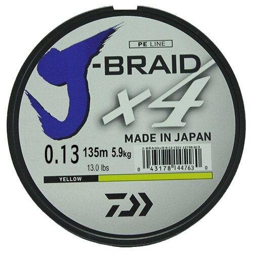 Плетеный шнур DAIWA J-Braid X4 yellow 0.13 мм 135 м 5.9 кг