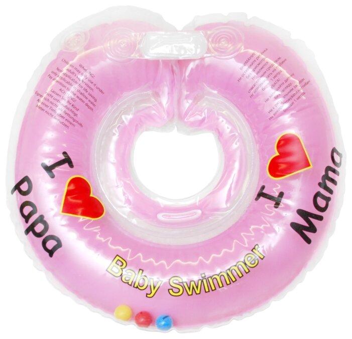 Круг на шею Baby Swimmer 3m+ (6-36 кг) Я люблю, с погремушкой