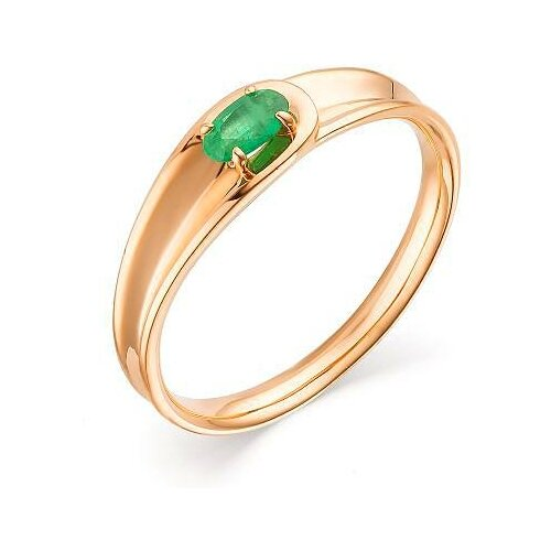 АЛЬКОР Кольцо с 1 изумрудом из красного золота 13546-101, размер 17.5