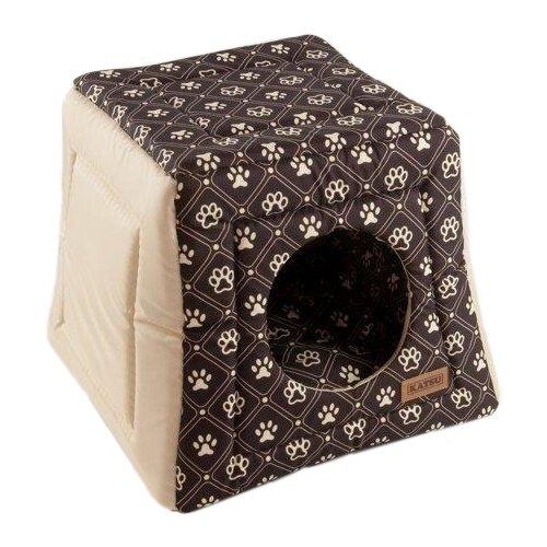 Фото - Домик для собак и кошек Katsu Hopi Dog Paws 40х40х35 см бежево-коричневый домик для собак и кошек katsu patchwork s 30х30х16 см лиловый