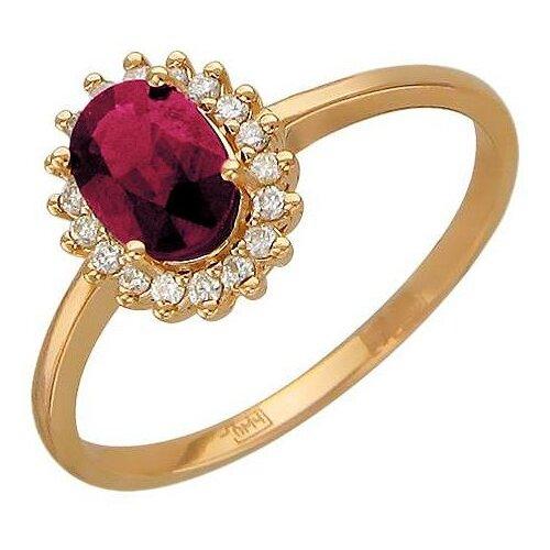 Эстет Кольцо с рубином и бриллиантами из красного золота 01К616902-3, размер 16.5 ЭСТЕТ