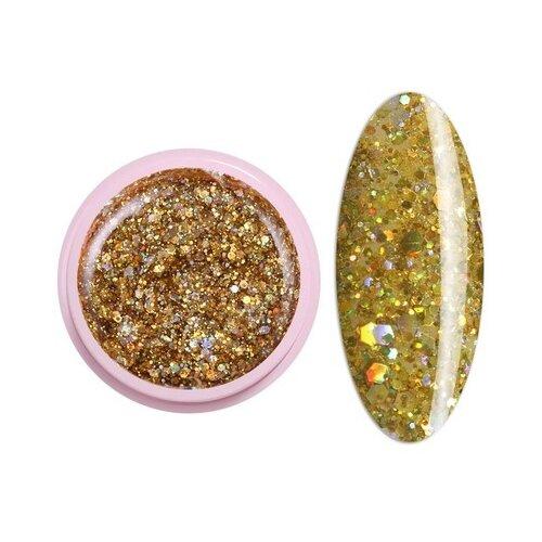 Краска ICE NOVA Glitter Gel 15 мультизолото