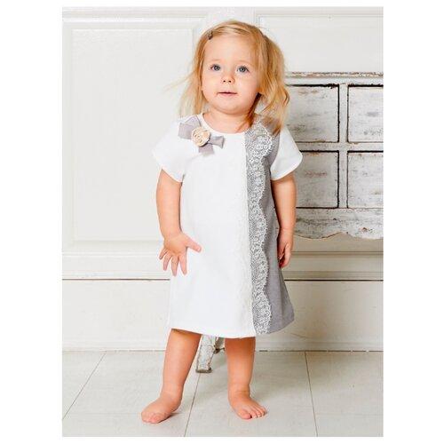 Купить Платье Трия размер 86-92, экрю/серый, Платья и юбки