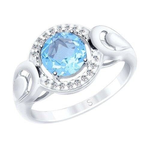 SOKOLOV Кольцо из серебра с топазом и фианитами 92011563, размер 16.5 по цене 1 245