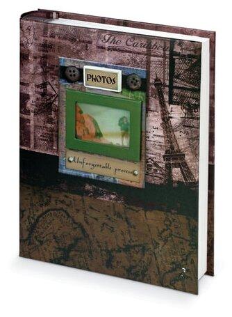 """Фотоальбом BRAUBERG на 200 фотографий 10х15 см, твердая обложка, """"Путешествие"""", бокс, коричневый, 390672"""