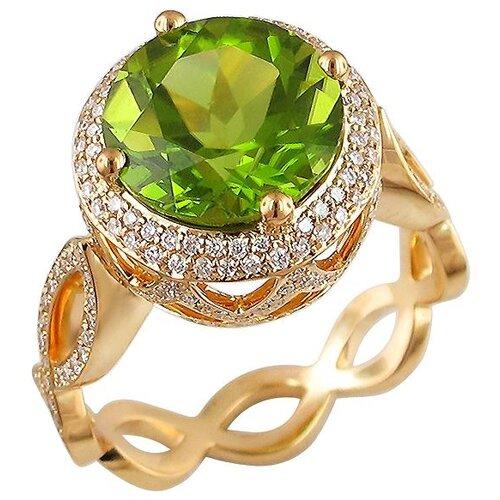 Эстет Кольцо с хризолитом и бриллиантами из жёлтого золота 750 пробы 01К646816-2, размер 17 эстет кольцо с лазуритом и бриллиантами из жёлтого золота 01к6313305 2 размер 17