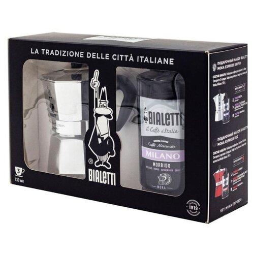 Кофе молотый Bialetti Milano + гейзерная кофеварка Bialetti Moka Express Silver Подарочный набор, 250 г