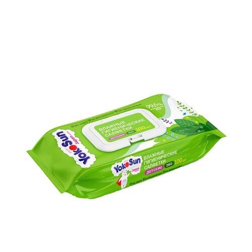 Купить Влажные гигиенические салфетки YokoSun Eco пластиковая крышка 100 шт., Влажные салфетки