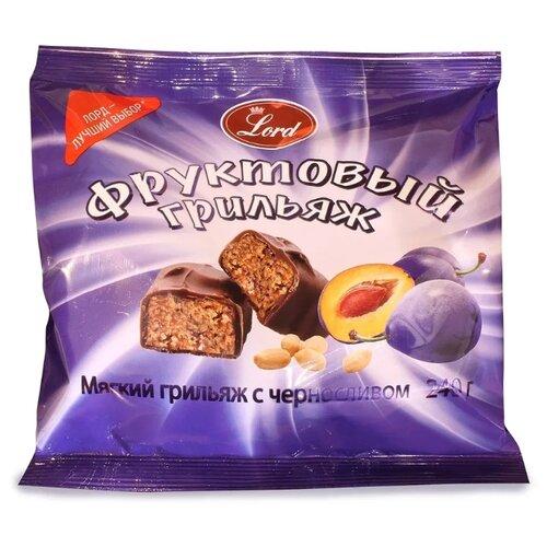 Конфеты Lord в шоколадной глазури Фруктовый грильяж с черносливом 240 г бабаевский наслаждение конфеты с мягкой карамелью в шоколадной глазури 250 г