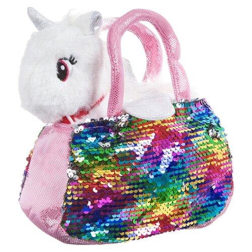 Мягкая игрушка Bondibon Милота Крылатый единорог белый в сумке с пайетками 18 см