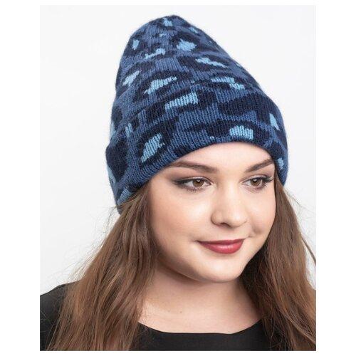 Шапка женская / Шапка женская зимняя / Шапка осенняя / Шапка женская из шерсти - Reflexmaniya, RN156-2020 - цвет - Синяя волна.