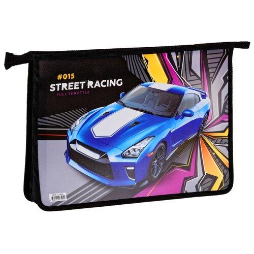 ArtSpace Папка для тетрадей Racing А4, на молнии, пластик черный/синий artspace папка для тетрадей car а4 на молнии пластик черный