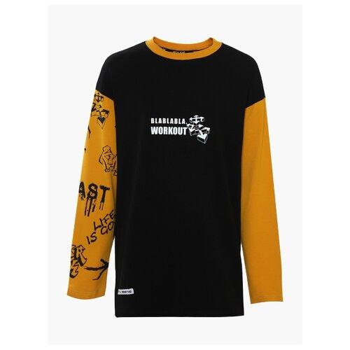 Купить Лонгслив Nota Bene размер 134, черный/желтый, Футболки и майки