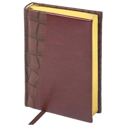 Ежедневник BRAUBERG Cayman недатированный, искусственная кожа, А6, 160 листов, коричневый ежедневник brauberg cayman недатированный искусственная кожа а5 160 листов черный темно коричневый
