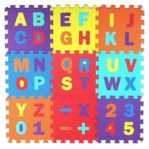 Купить Развивающий коврик-пазл детский, Английский алфавит и цифры, 10 пазлов, размер одного пазла 31х31 см, толщина 1 см, фигурки вынимаются, Компания Друзей, Игровые коврики