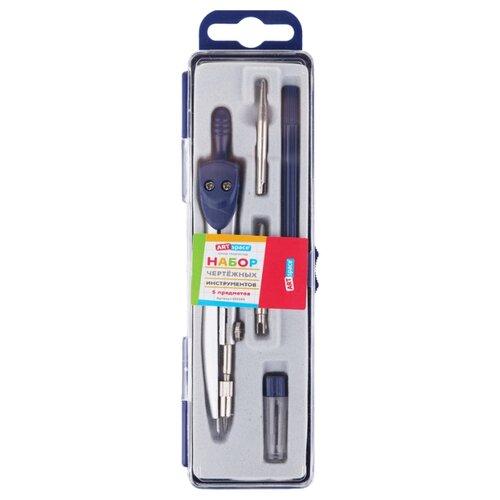 Купить ArtSpace Набор чертежный 5 предметов (295265) синий, Чертежные инструменты