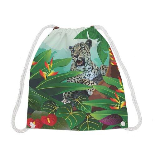 Купить JoyArty Рюкзак-мешок Леопард спрятался (bpa_4695) зеленый, Мешки для обуви и формы