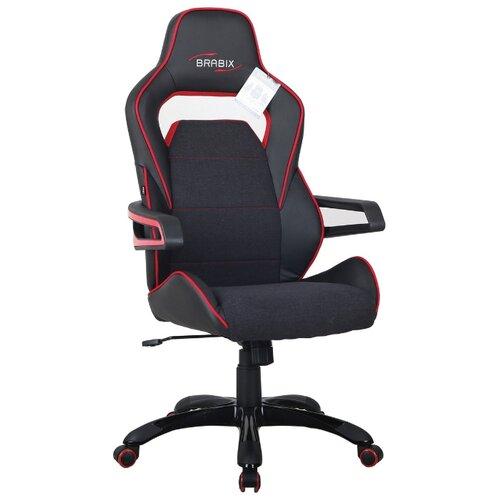 Компьютерное кресло Brabix Nitro GM-001 игровое, обивка: искусственная кожа, цвет: черный/красный