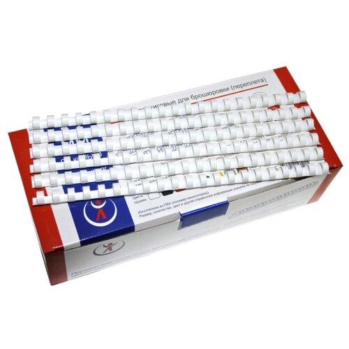 Пружина пластиковая для переплета, 14 мм, для сшивания 95-125 листов, белая, 100 шт, РеалИСТ