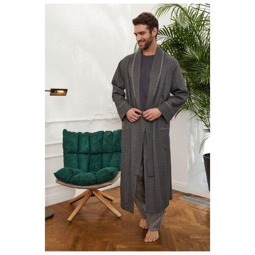 Laete Длинный мужской халат на запахе, 30389, серый, XXXL