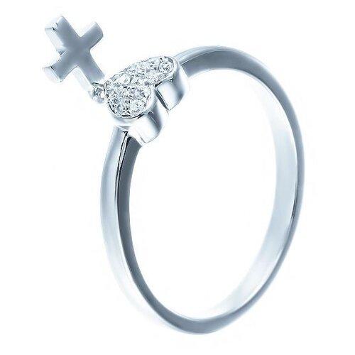 JV Кольцо с фианитами из серебра ML01816A-KO-001-WG, размер 18 jv кольцо с фианитами из серебра dm2370r ko 001 wg размер 18